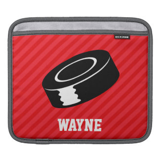 Hockey Puck; Scarlet Red Stripes Sleeve For iPads