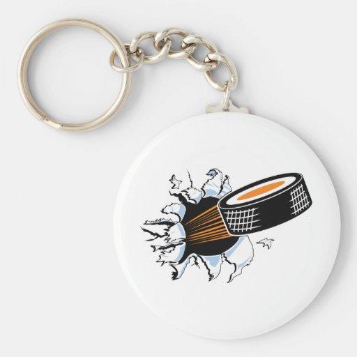 Hockey Puck Smash Basic Round Button Keychain