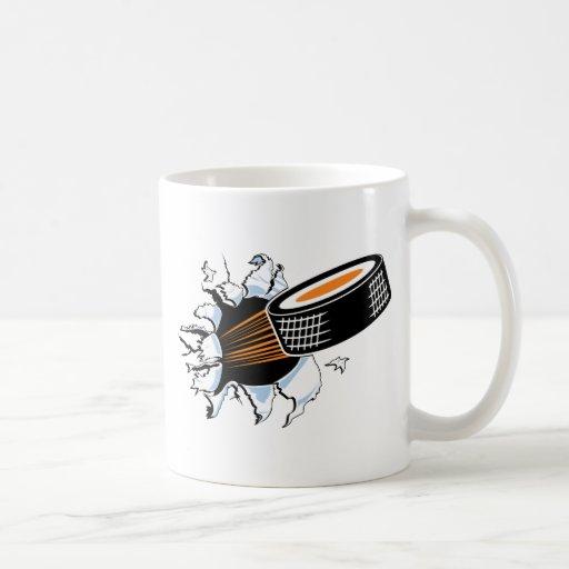 Hockey Puck Smash Classic White Coffee Mug