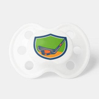 Hockey Puck Stick Crest Retro Pacifier