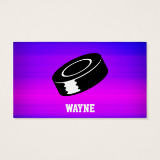 Hockey Puck; Vibrant Violet Blue and Magenta Business Card
