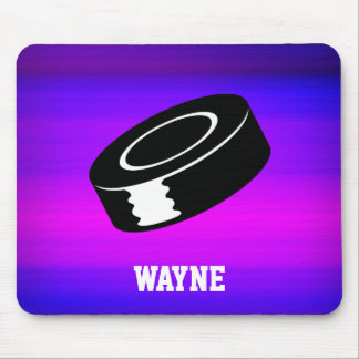 Hockey Puck; Vibrant Violet Blue and Magenta Mouse Pad