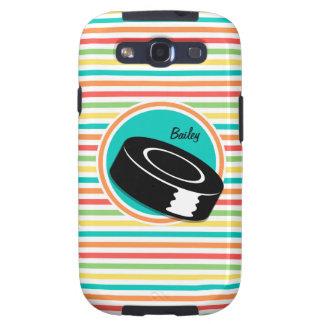 Hockey Rayas brillantes del arco iris Samsung Galaxy S3 Carcasa