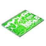 Hockey; Rayas verdes de neón Cuadernos