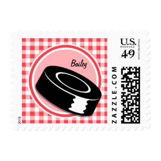 Hockey; Red and White Gingham Postage