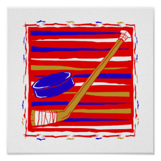 Hockey red white and blue poster