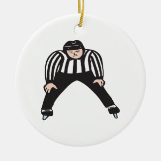 Hockey Referee Double-Sided Ceramic Round Christmas Ornament