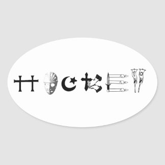 Hockey Religion Oval Sticker