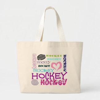 Hockey Repeating Large Tote Bag