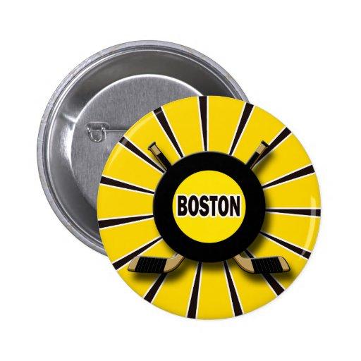 HOCKEY RETRO DE BOSTON PIN REDONDO 5 CM