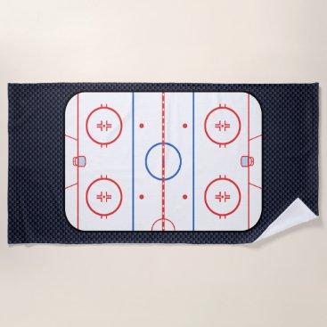 Beach Themed Hockey Rink Diagram on Blue Carbon Fiber Style Beach Towel
