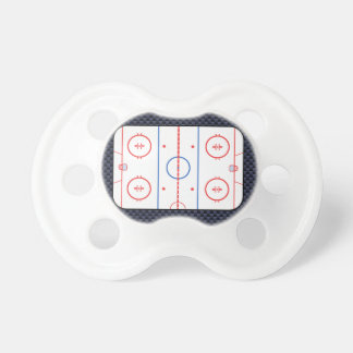 Hockey Rink Diagram on Blue Carbon Fiber Style Pacifier