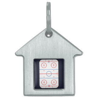 Hockey Rink Diagram on Blue Carbon Fiber Style Pet Name Tag