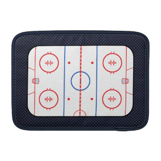 Hockey Rink Diagram on Blue Carbon Fiber Style Sleeve For MacBook Air