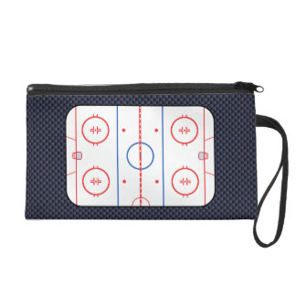 Hockey Rink Diagram on Blue Carbon Fiber Style Wristlet Purse