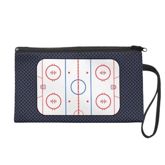 Hockey Rink Diagram On Blue Carbon Fiber Style Wristlet Purse