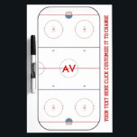 "Hockey Rink White Board<br><div class=""desc"">Great custom coaches whiteboard that can be customized with your team&#39;s initials.  Just click the &quot;customize it&quot; button and personalize it with your team colors,  different fonts,  or even add your logo! We paid so much attention to detail that you can actually see the skate marks on the ice!</div>"