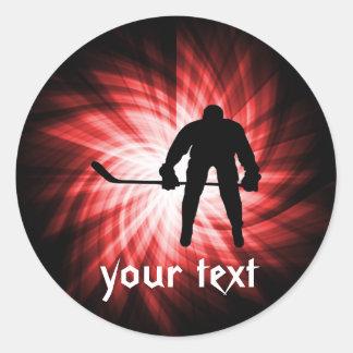 Hockey rojo pegatina redonda