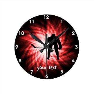 Hockey rojo reloj redondo mediano