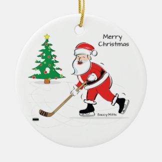 Hockey Santa Christmas Round Ceramic Ornament