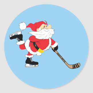 Hockey Santa Skating Christmas Classic Round Sticker