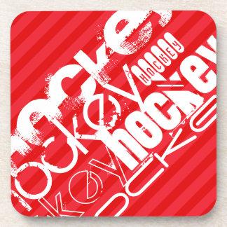 Hockey; Scarlet Red Stripes Drink Coaster