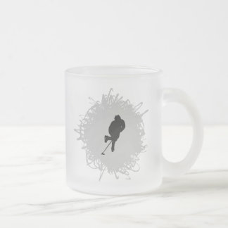 Hockey Scribble Style Frosted Glass Coffee Mug