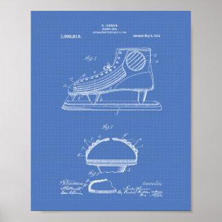 Hockey Shoe 1914 Patent Art Blueprint Poster