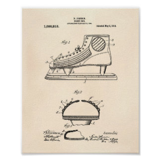 Hockey Shoe 1914 Patent Art Old Peper Poster