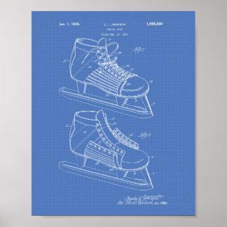 Hockey Shoe 1934 Patent Art - Blueprint Poster