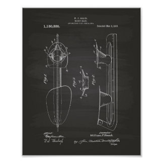 Hockey Skate 1915 Patent Art - Chalkboard Poster