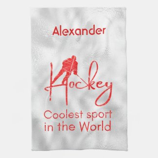 Hockey skate towel coolest sport red