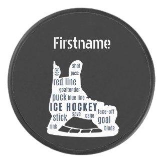 Hockey skate words - Black Personalized Ice Hockey Puck
