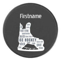 Hockey skate words - Black Personalized Ice Hockey Puck