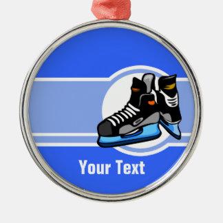 Hockey Skates; Blue Round Metal Christmas Ornament
