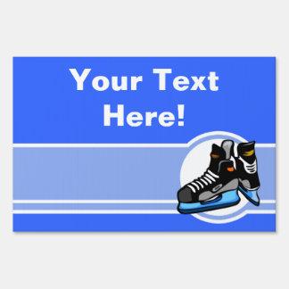 Hockey Skates; Blue Sign