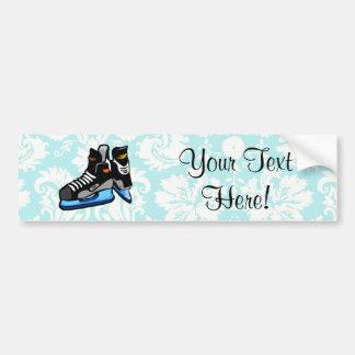 Hockey Skates; Damask Bumper Sticker