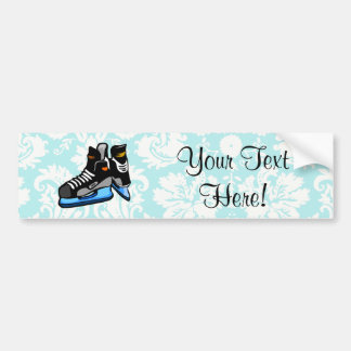 Hockey Skates; Damask Car Bumper Sticker