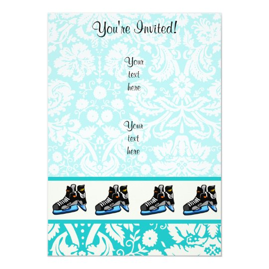 Hockey Skates; Damask Card