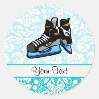 Hockey Skates; Damask Classic Round Sticker