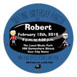 Hockey Skating Birthday Party Circle Invite