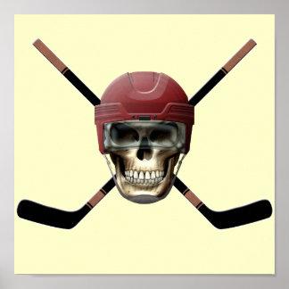 Hockey Skull & Crossed Sticks Posters