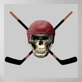 Hockey Skull & Crossed Sticks Poster