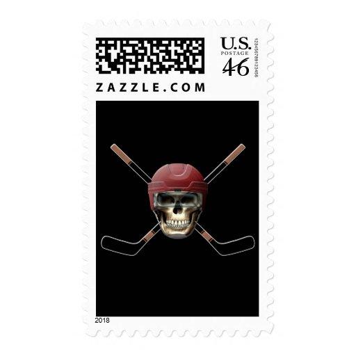 Hockey Skull Helm Postage Stamp