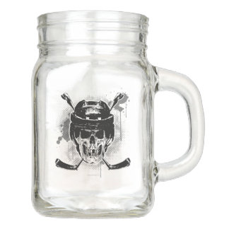 Hockey Skull Mason Jar