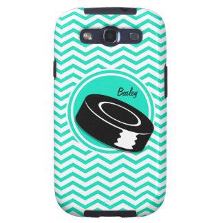 Hockey sobre hielo Aguamarina Chevron verde Samsung Galaxy S3 Carcasa