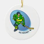 Hockey sobre hielo amarillo verde adorno