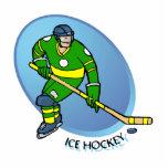 Hockey sobre hielo amarillo verde escultura fotografica