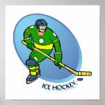 Hockey sobre hielo amarillo verde poster