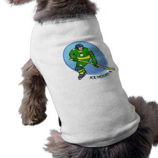 Hockey sobre hielo amarillo verde camiseta de perrito